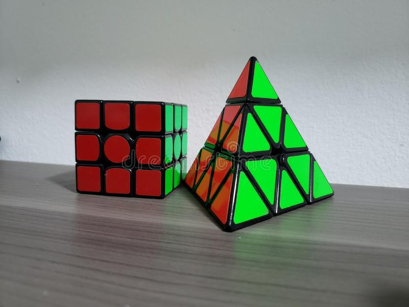Rubik. Cube, triangle, red, green, indoor stock photo