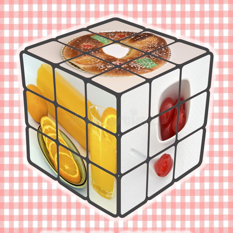 Rubik desserts. Rubik`s cube with different desserts detailed on their faces royalty free illustration