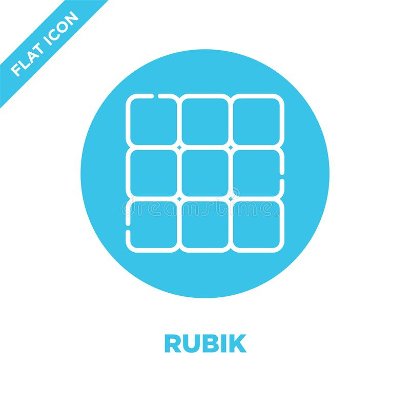 rubik icon vector from baby toys collection. Thin line rubik outline icon vector  illustration. Linear symbol for use on web and vector illustration