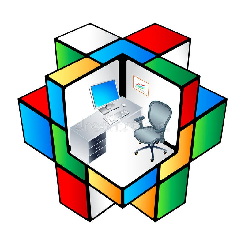 Rubik office Cubicle stock illustration