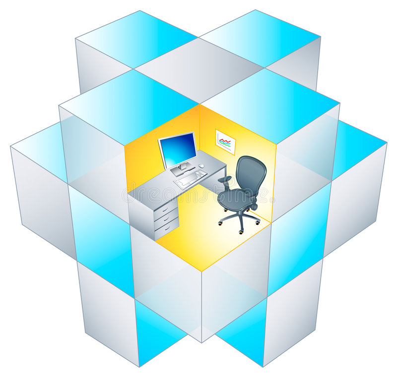 Rubik office Cubicle royalty free illustration
