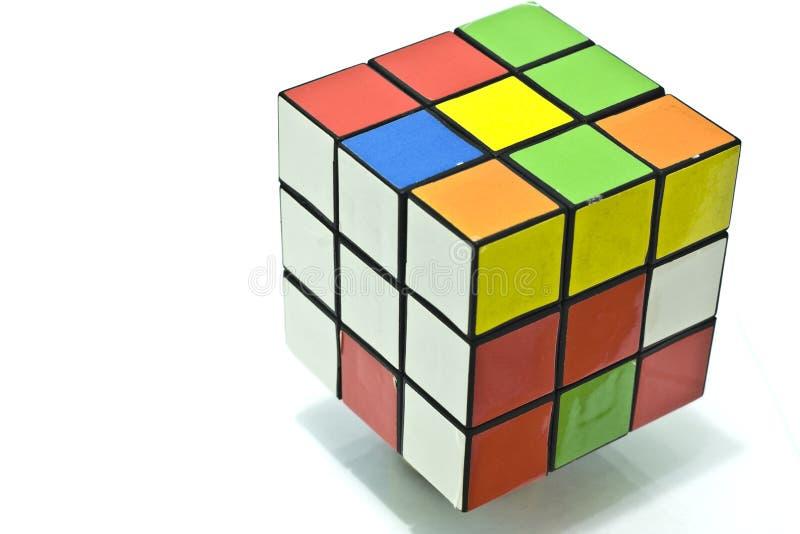 Rubik's cube. Over white background stock photo