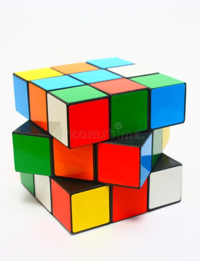 Rubik's Cube. In a classic Rubik's Cube, each of the six faces is covered by 9 stickers, among six solid colours (traditionally white, red, blue, orange, green