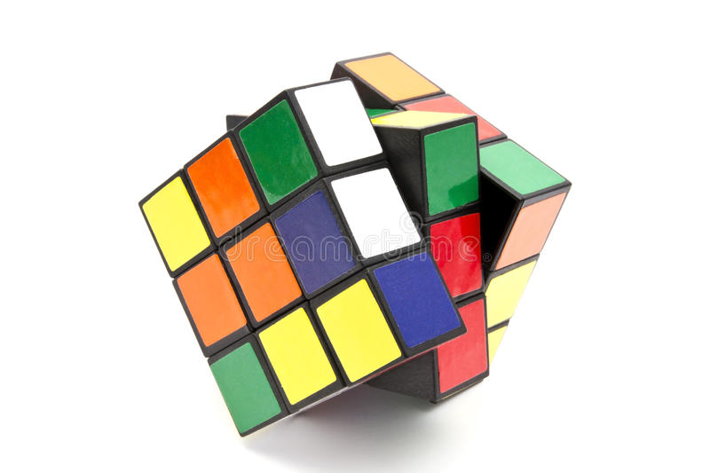 Rubik's Cube. Closeup on white background stock photography