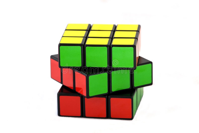 Rubik's cube. The famous Rubik's cube over white background