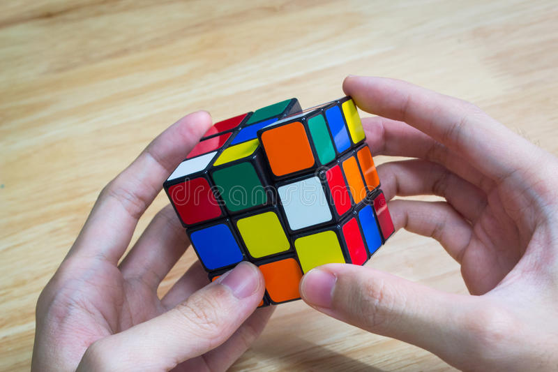 Rubik`s cube. Bangkok, Thailand - January 9, 2017 : Rubik`s cube was being solved. Rubik`s Cube was invented by Erno Rubik, a Hungarian architect, in 1974 stock photo