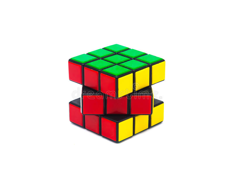 Rubik s cube. Colorful and world famous Rubik`s cube on white background royalty free stock images