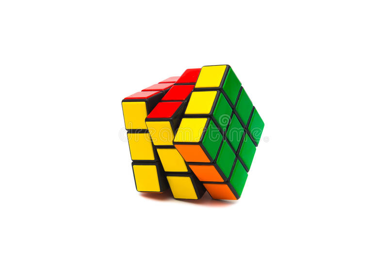 Rubik s cube. Colorful and world famous Rubik`s cube on white background stock image