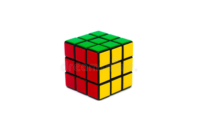 Rubik s cube. Colorful and world famous Rubik`s cube on white background stock image