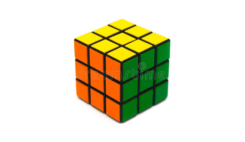 Rubik s cube. Colorful and world famous Rubik`s cube on white background royalty free stock photo