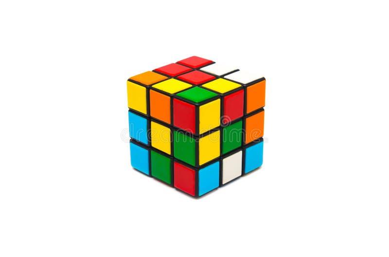Rubik s cube. Colorful and world famous Rubik`s cube on white background stock photo