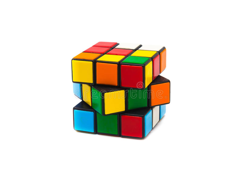 Rubik s cube. Colorful and world famous Rubik`s cube on white background stock photography