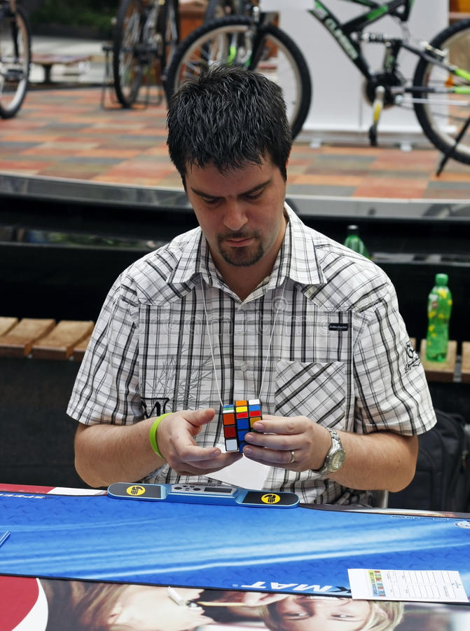 Rubik`s Cube Competition Editorial Stock Photo