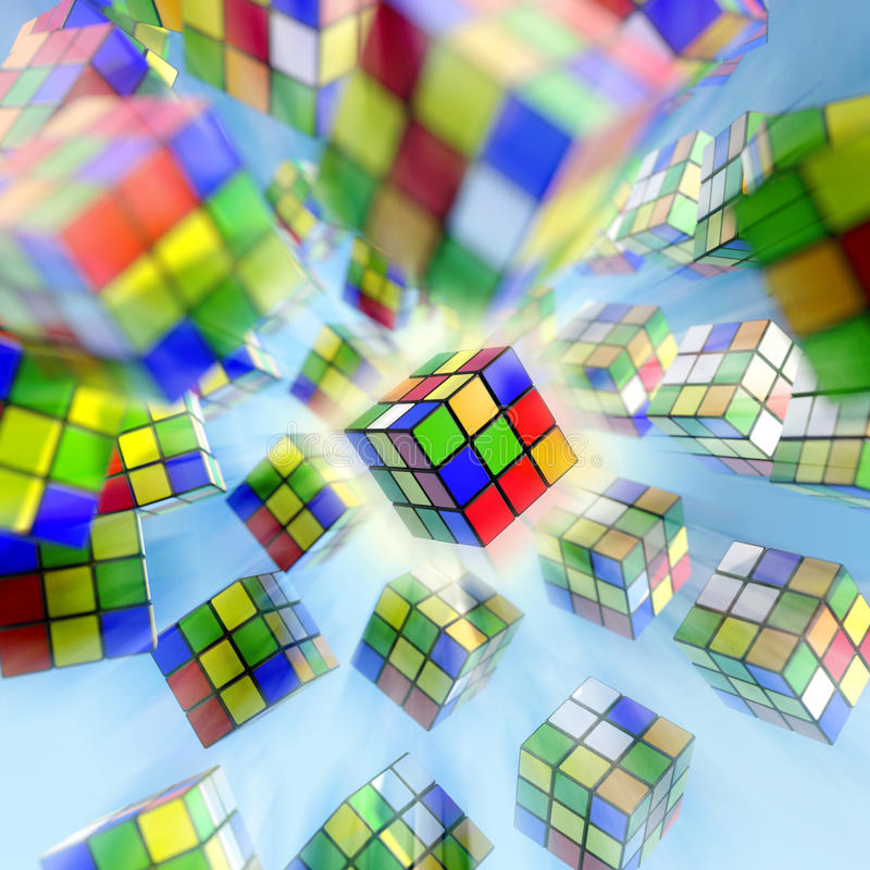 Rubik s cube. Famous Rubik s cube on blue background royalty free illustration