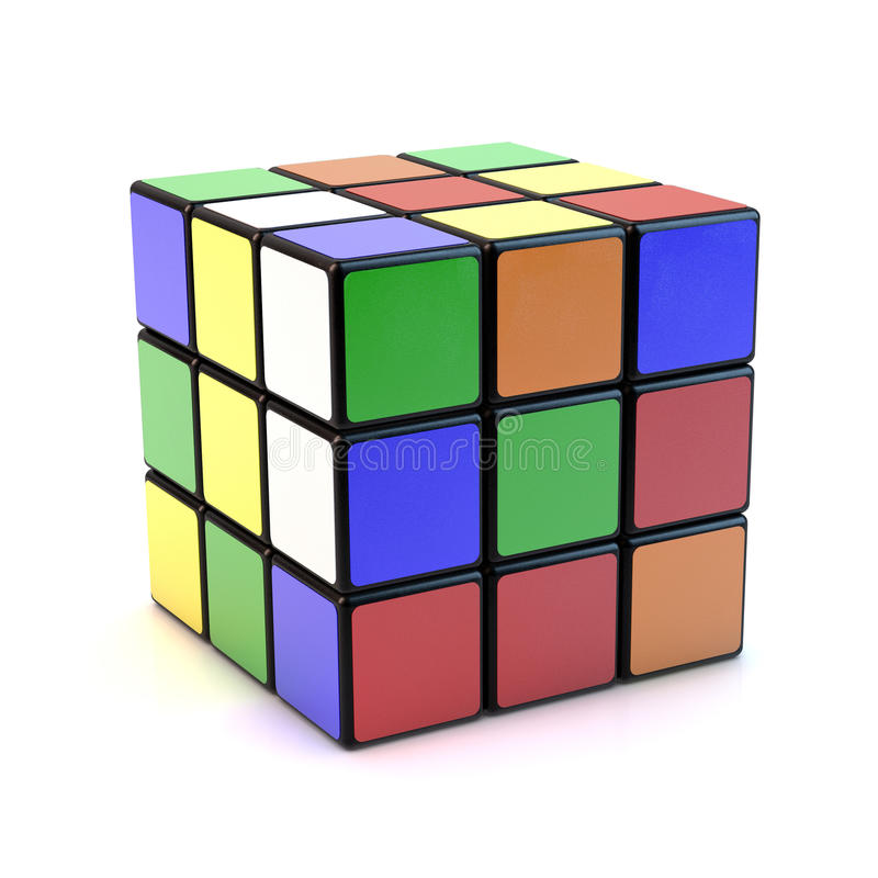Rubik s cube. Famous Rubik`s cube with mixed colors over white background stock photography