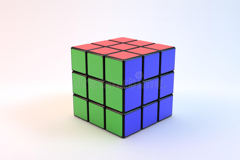 Rubik s cube. Famous Rubik`s over white background stock illustration