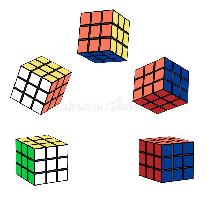 The Rubik`s cube in flight stock photos