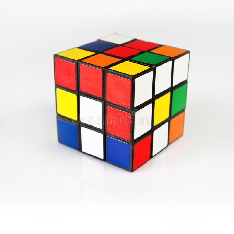 Rubik's Cube. NOVI SAD, SERBIA - NOVEMBER 17, 2014: Rubik's Cube invented by a Hungarian architect Erno Rubik in 1974 is famous is 3 dimensional puzzle royalty free stock images