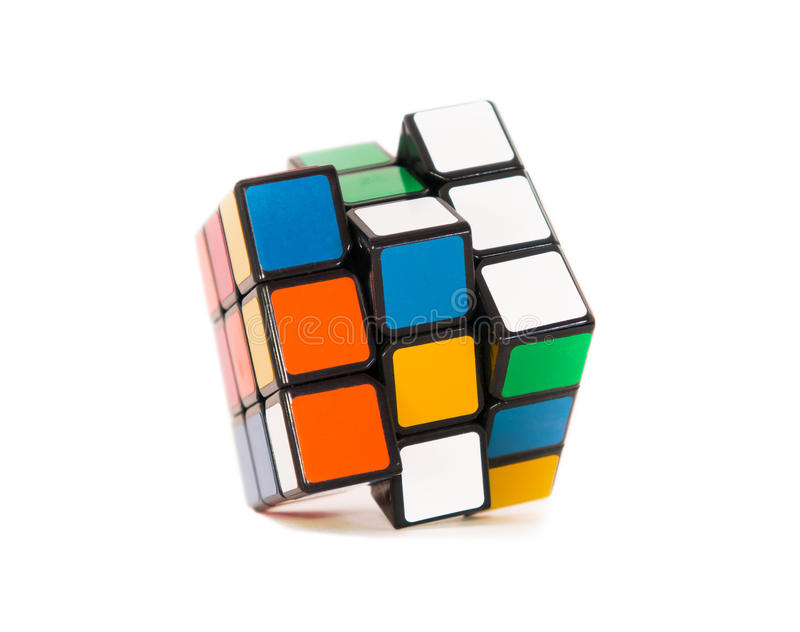 Rubik's Cube. In unassembled condition on a white background stock photo