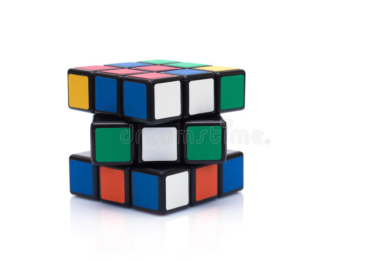 Rubik's cube on the white background. This famous game was invented by a Hungarian architect Erno Rubik in 1974 royalty free stock photography