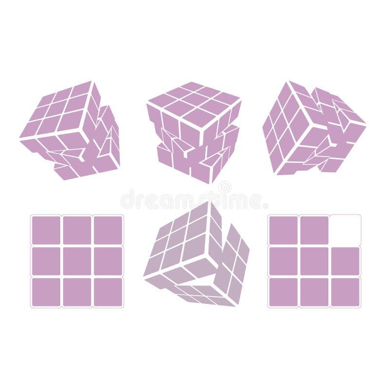 Rubik-` s Würfellogo-Designikone, Vektorillustration Geometrisches Zeichenmuster vektor abbildung