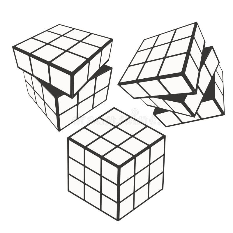 Rubik-` s Würfellogo-Designikone, Vektorillustration Geometrisches Zeichenmuster stock abbildung