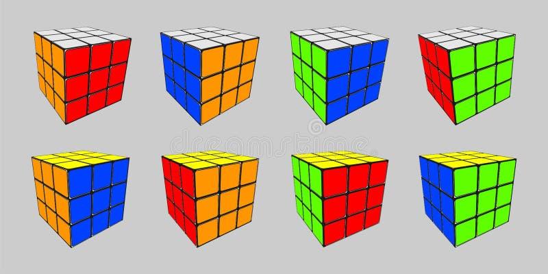 Rubik-Würfel in 8 Positionen lizenzfreie abbildung