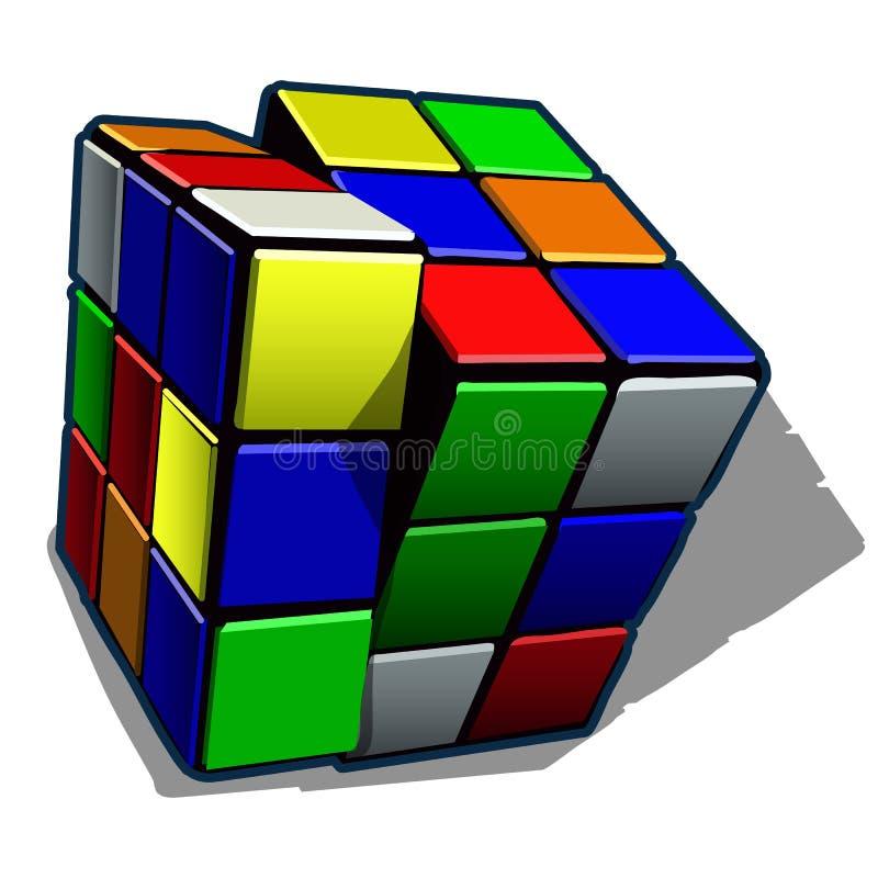 Rubikkubus op witte achtergrond wordt geïsoleerd die De vectorillustratie van het beeldverhaalclose-up stock illustratie
