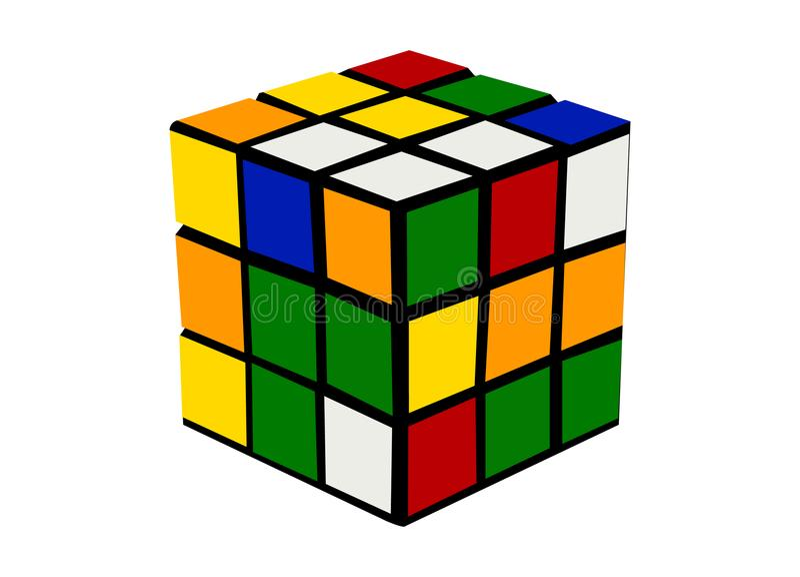 Rubiks立方体五颜六色的动画片例证 皇族释放例证