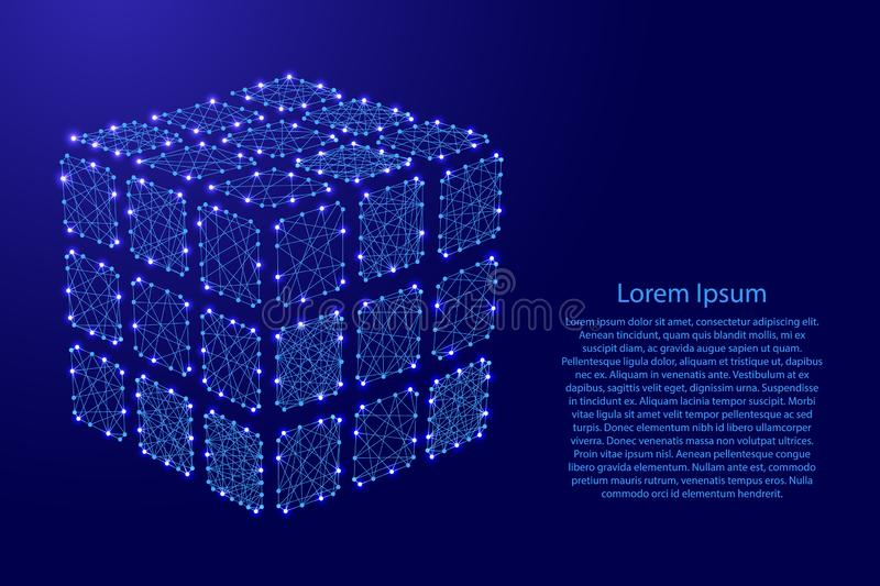 Rubiks cube dismantled from futuristic polygonal blue lines and vector illustration