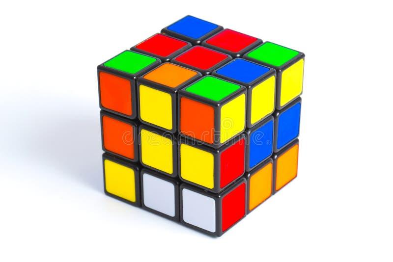 Rubiks kub på vit royaltyfri foto
