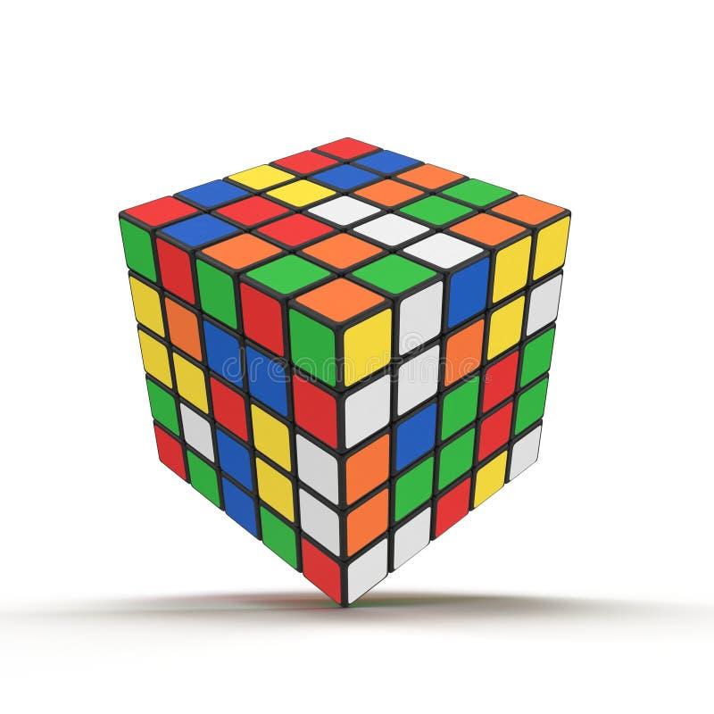 Rubiks kub 5x5 på vit illustration 3d royaltyfri illustrationer