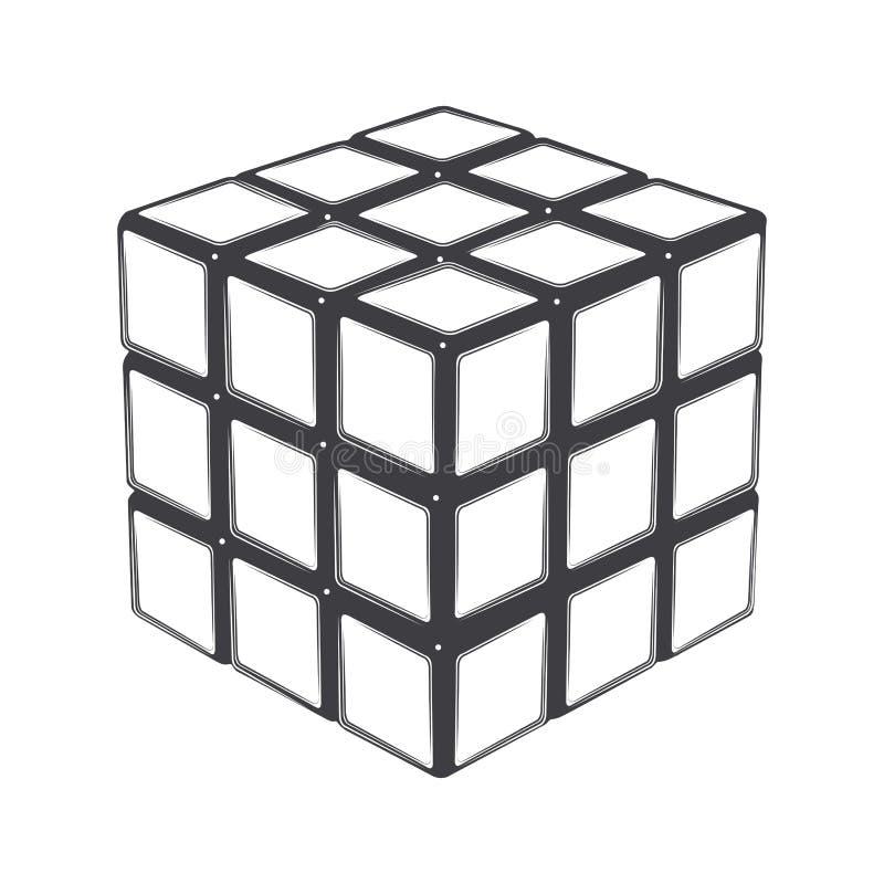 Rubiks kub som isoleras på en vit bakgrund Linje konst modern design royaltyfri illustrationer