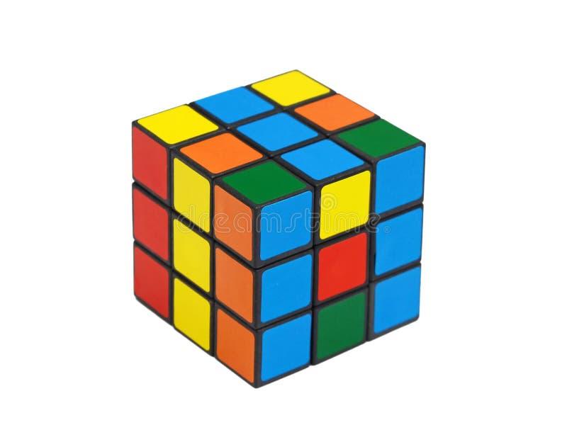 Rubiks kubus scrambeld voor pret stock foto