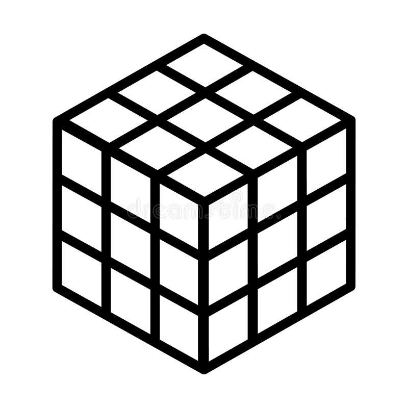 Rubiks linje konstvektorsymbol för pussel för kombination för kub 3d för apps och websites royaltyfri illustrationer
