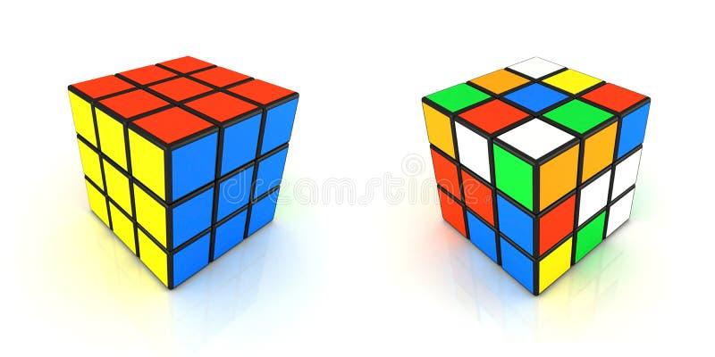 Rubikskubus 2in1 royalty-vrije stock afbeelding