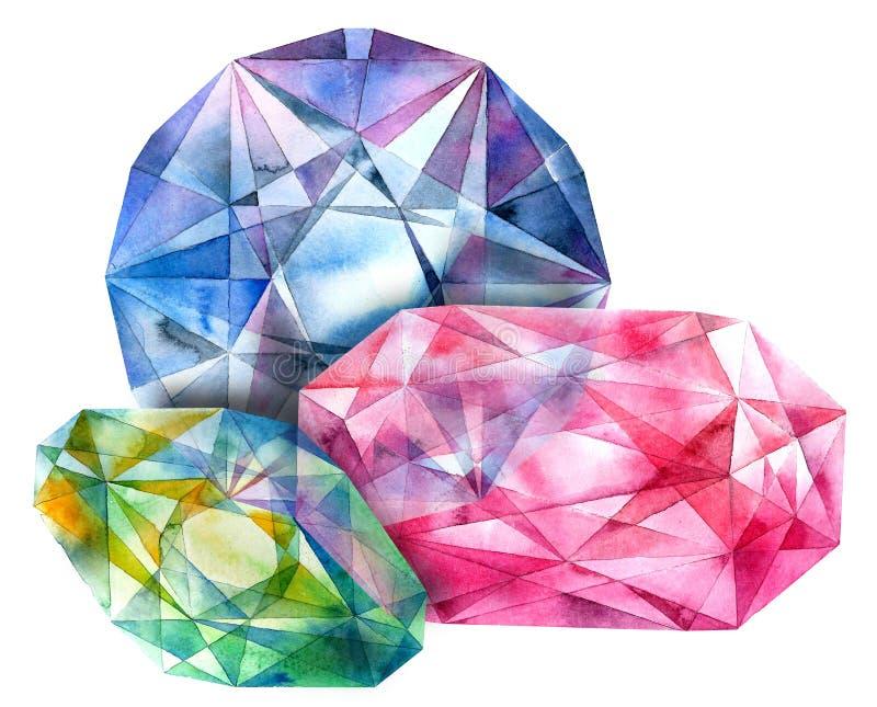 Rubin smaragd, diamant stock illustrationer