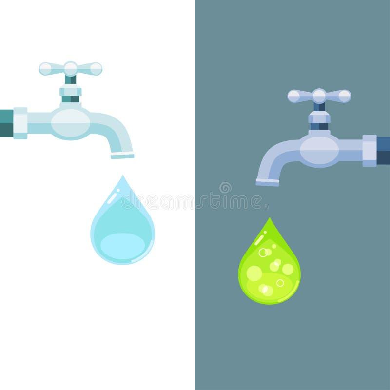 Rubinetti di acqua con le gocce pulite e tossiche illustrazione vettoriale