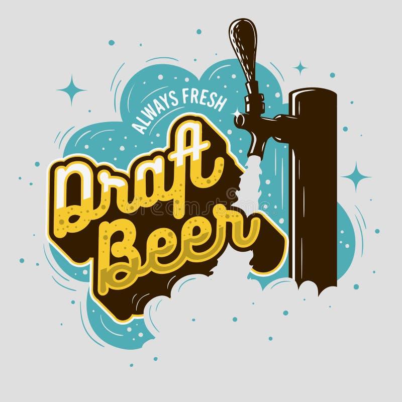 Rubinetto della birra alla spina con progettazione del manifesto della schiuma per la promozione illustrazione vettoriale