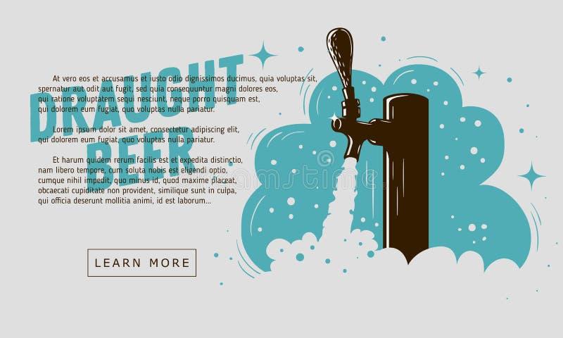 Rubinetto della birra alla spina con progettazione dell'insegna di web della schiuma per la promozione royalty illustrazione gratis
