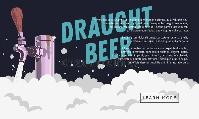 Rubinetto della birra alla spina del progetto con progettazione dell'insegna di web della schiuma royalty illustrazione gratis