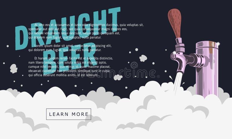 Rubinetto della birra alla spina del progetto con progettazione dell'insegna di web della schiuma illustrazione di stock