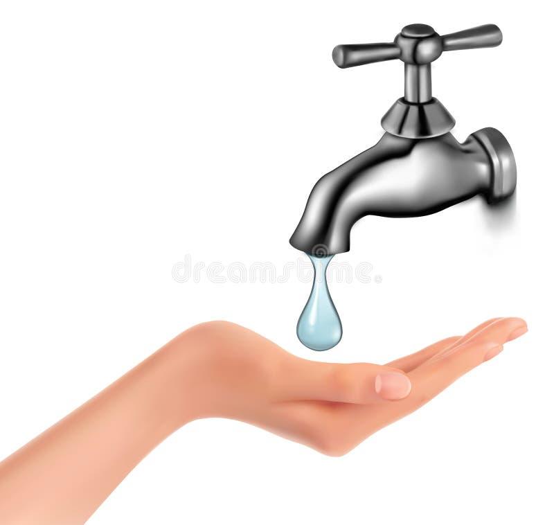 Rubinetto di acqua con goccia e la mano illustrazione di stock