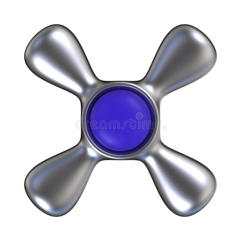 Rubinetto di acqua con il centro di plastica blu Vista superiore 3d royalty illustrazione gratis