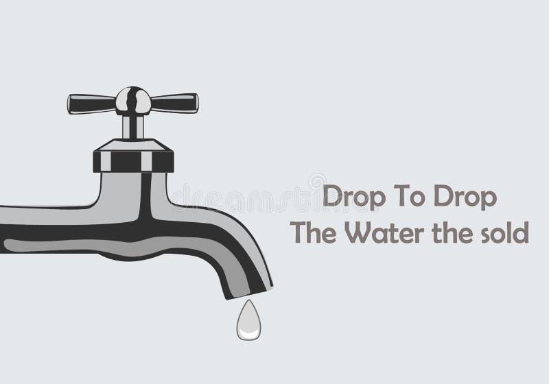 Rubinetto di acqua con le gocce per creare consapevolezza circa l'ambiente e l'importanza di acqua illustrazione vettoriale
