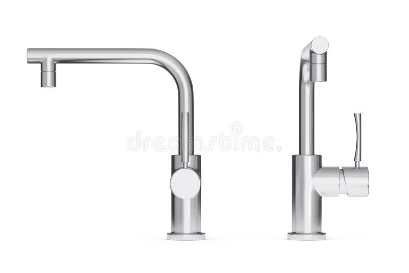 Rubinetto di acqua moderno della cucina dell'acciaio inossidabile, rubinetto rappresentazione 3d illustrazione di stock