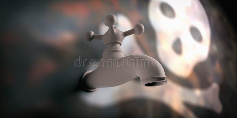 Rubinetto di acqua sul fondo della sfuocatura con il cranio illustrazione 3D illustrazione di stock