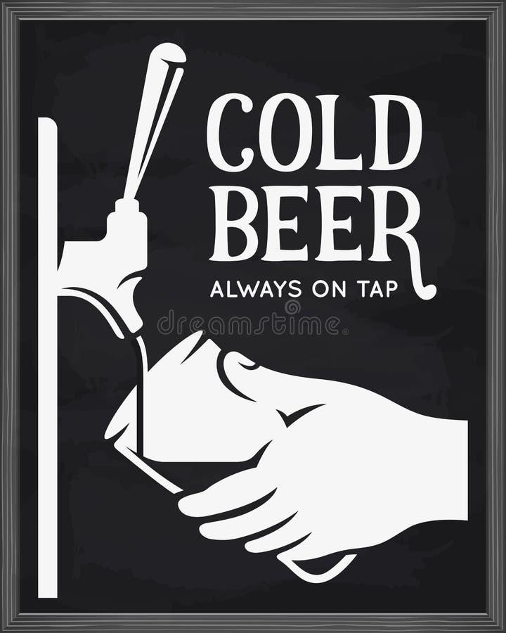 Rubinetto e mano della birra con la pubblicità di vetro Illustrazione dell'annata di vettore illustrazione vettoriale