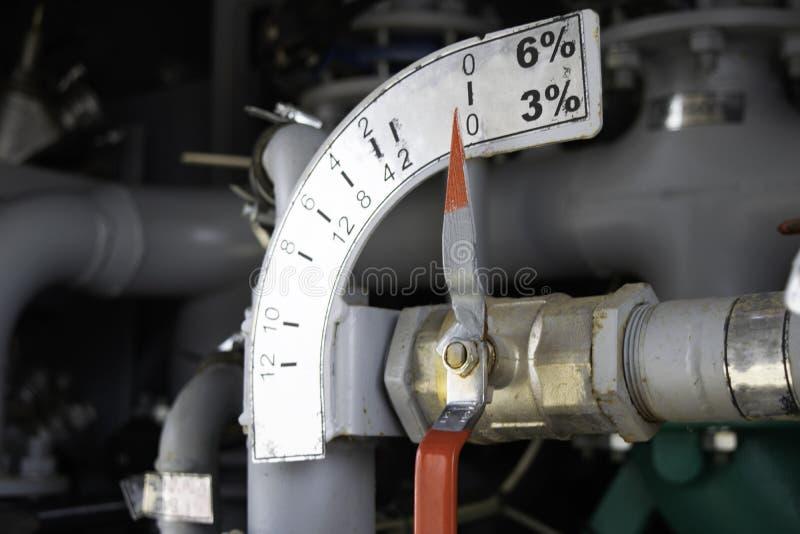 Rubinetto e scala dell'erogatore del miscelatore della schiuma del veicolo di estinzione di incendio installato sulla pompa immagine stock