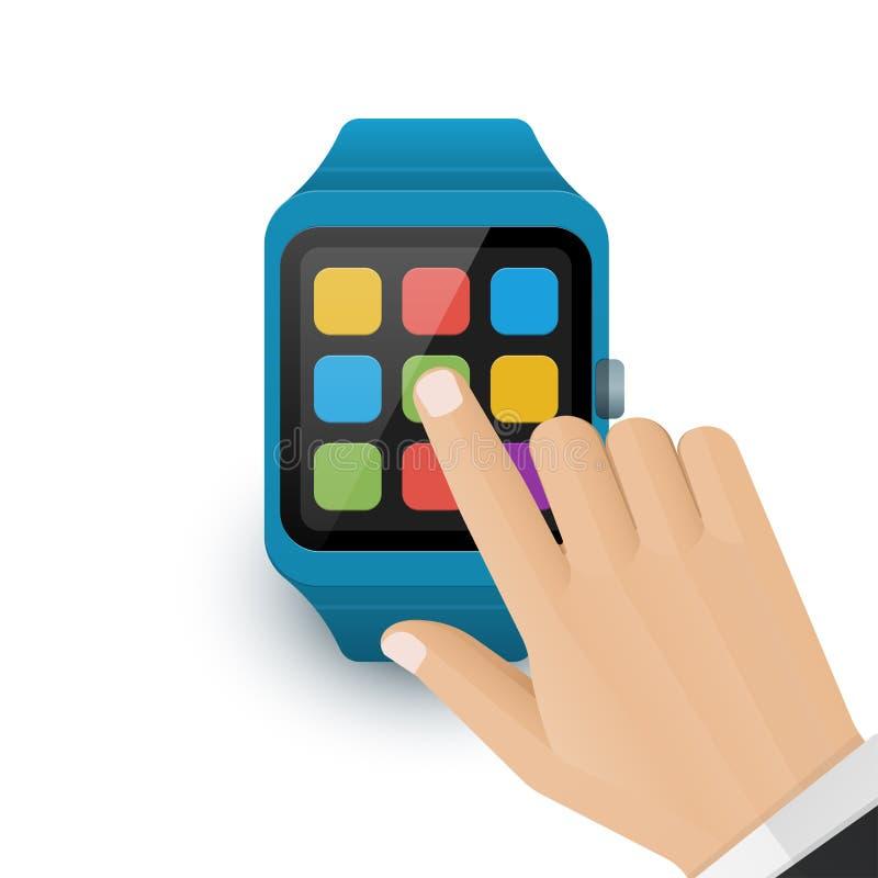 Rubinetto umano della mano l'icona dell'applicazione sullo schermo astuto dell'orologio Icona dello smartwatch di vettore su fond royalty illustrazione gratis
